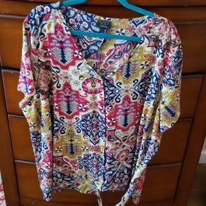 Tapestry Print Side Tie top